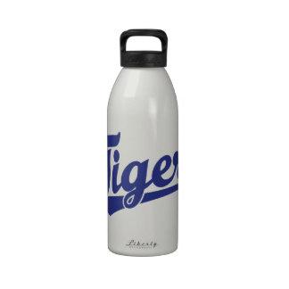 Logotipo de la escritura del tigre en naranja botella de agua
