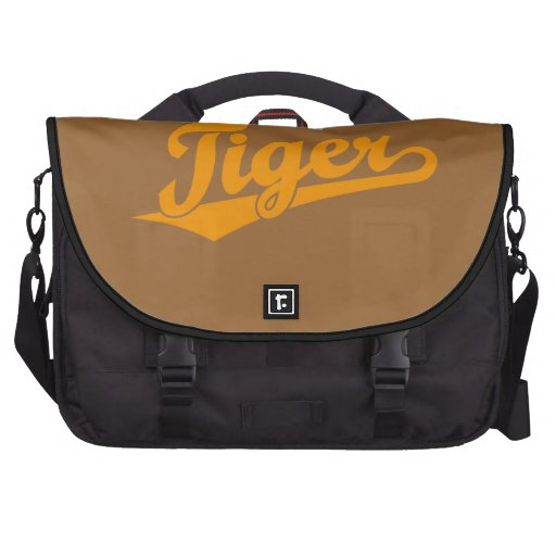 Logotipo de la escritura del tigre en naranja bolsas para portátil