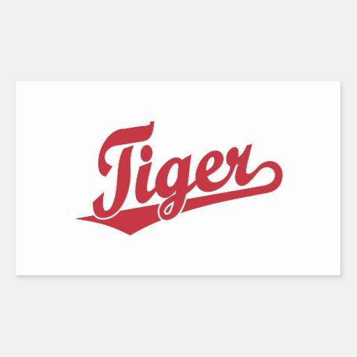 Logotipo de la escritura del tigre en rojo pegatina rectangular