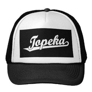 Logotipo de la escritura del Topeka en blanco Gorros