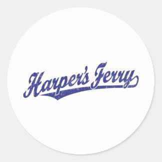 Logotipo de la escritura del transbordador de Harp Pegatinas Redondas