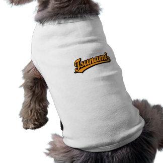 Logotipo de la escritura del tsunami en naranja playera sin mangas para perro