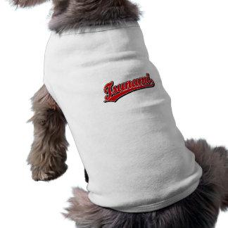 Logotipo de la escritura del tsunami en rojo playera sin mangas para perro
