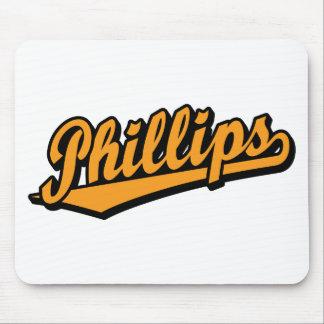 Logotipo de la escritura Phillips en naranja Tapete De Ratón