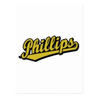 Logotipo de la escritura Phillips en oro Postales