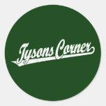 Logotipo de la esquina de la escritura de Tysons e Etiqueta Redonda