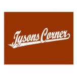 Logotipo de la esquina de la escritura de Tysons e Postales