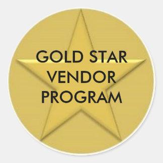 Logotipo de la estrella del oro, PROGRAMA del Pegatina Redonda