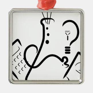 Logotipo de la feria de ciencia adorno navideño cuadrado de metal
