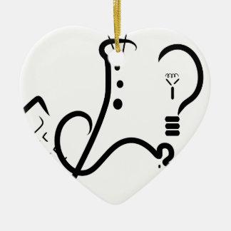 Logotipo de la feria de ciencia adorno navideño de cerámica en forma de corazón