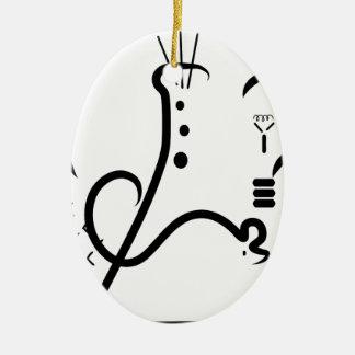 Logotipo de la feria de ciencia adorno navideño ovalado de cerámica