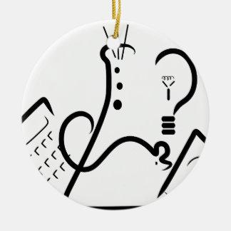 Logotipo de la feria de ciencia adorno navideño redondo de cerámica