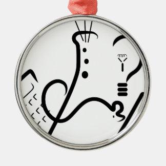 Logotipo de la feria de ciencia adorno navideño redondo de metal