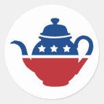 Logotipo de la fiesta del té pegatina redonda