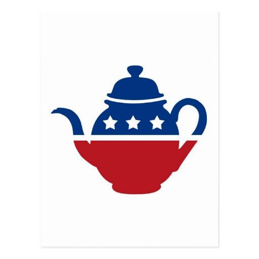 Logotipo de la fiesta del té tarjetas postales