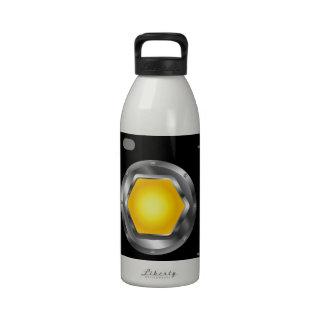 Logotipo de la fotografía con la abertura amarilla botallas de agua