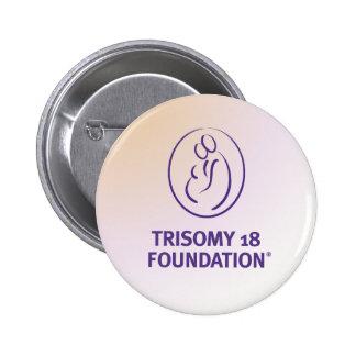 Logotipo de la fundación del Trisomy 18 - botón mu Pin Redondo De 2 Pulgadas