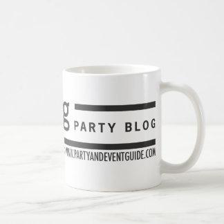 Logotipo de la guía del fiesta y del acontecimient tazas de café