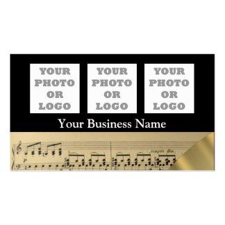 Logotipo de la hoja y de la compañía de música tarjetas de visita