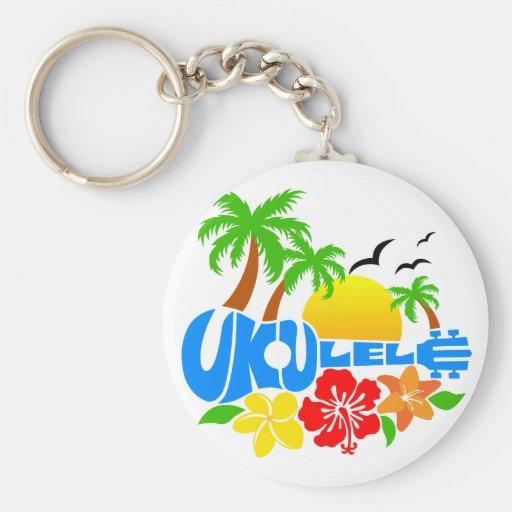 Logotipo de la isla del Ukulele Llavero Redondo Tipo Pin