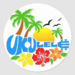 Logotipo de la isla del Ukulele Pegatina Redonda