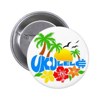 Logotipo de la isla del Ukulele Pin Redondo De 2 Pulgadas