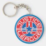 Logotipo de la liga de justicia llavero redondo tipo pin