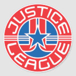 Logotipo de la liga de justicia pegatina redonda