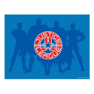 Logotipo de la liga de justicia y fondo sólido del tarjetas postales