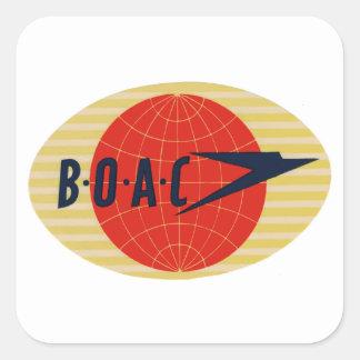 Logotipo de la línea aérea del vintage BOAC Pegatina Cuadrada