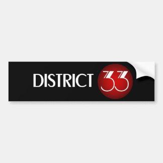 Logotipo de la marca del distrito 33 (texto blanco pegatina para auto