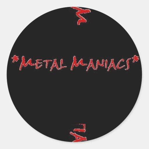 Logotipo de la milicia del metal, maniacos del pegatina redonda