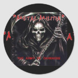 Logotipo de la milicia del metal, milicia del etiqueta redonda