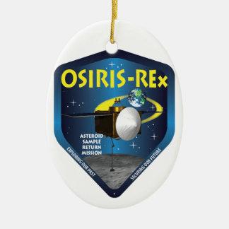 Logotipo de la misión de OSIRIS REx Adorno Navideño Ovalado De Cerámica
