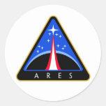 Logotipo de la NASA Ares Rocket Etiqueta Redonda