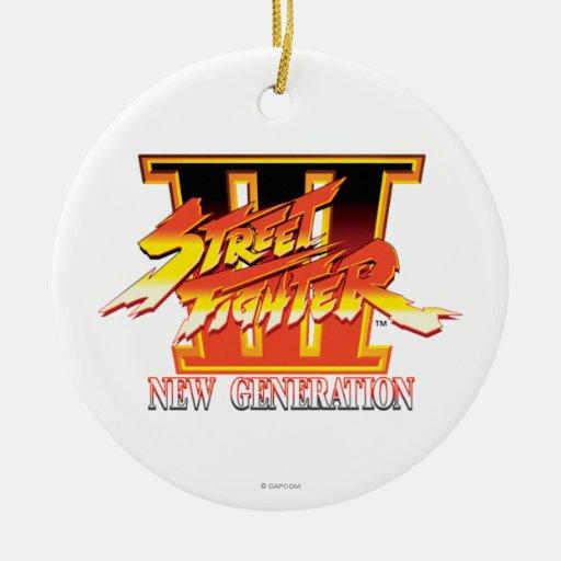 Logotipo de la nueva generación de Street Fighter Adorno Redondo De Cerámica