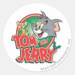 Logotipo de la obra clásica de Tom y Jerry Pegatina Redonda