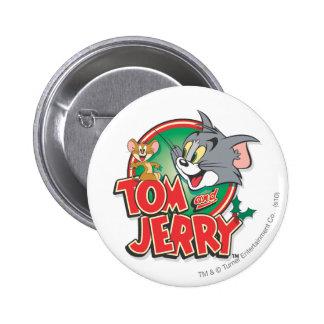 Logotipo de la obra clásica de Tom y Jerry Pin Redondo De 2 Pulgadas