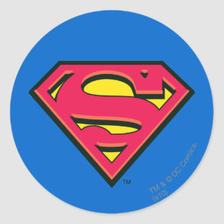 Logotipo de la obra clásica del superhombre etiqueta redonda