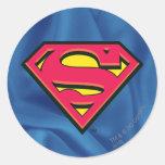Logotipo de la obra clásica del superhombre etiquetas redondas
