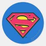 Logotipo de la obra clásica del superhombre pegatina redonda