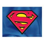 Logotipo de la obra clásica del superhombre tarjeta postal