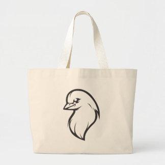 Logotipo de la paloma del personalizado blanco y n bolsa lienzo