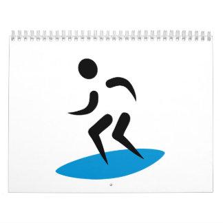 Logotipo de la persona que practica surf calendarios