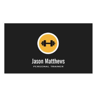 Logotipo de la pesa de gimnasia, instructor tarjetas de visita