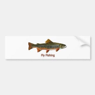 Logotipo de la pesca con mosca de la trucha de arr pegatina para auto