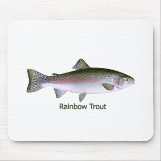 Logotipo de la pesca de la trucha arco iris alfombrillas de ratones
