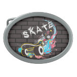 Logotipo de la pintada del patín de la pared de la hebillas de cinturon ovales