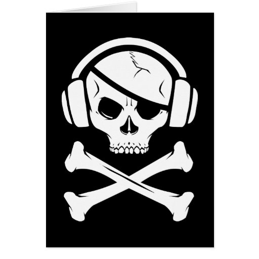 Logotipo de la piratería anti-RIAA del pirata de l Tarjetas