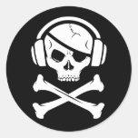 Logotipo de la piratería anti-RIAA del pirata de Pegatina Redonda